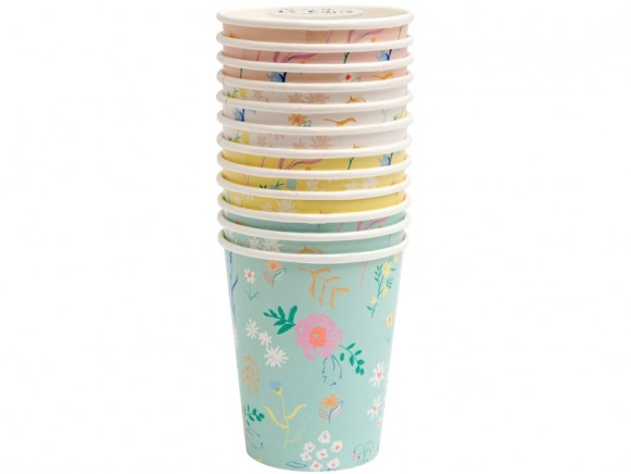 Meri Meri 12 Party Cups WILDFLOWER pastel