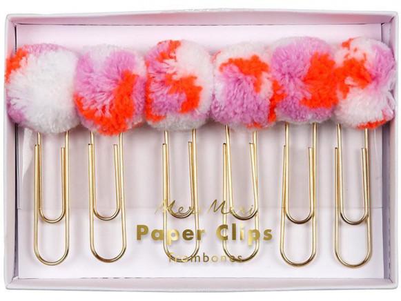 Meri Meri 6 Paper Clips POMPOMS pink