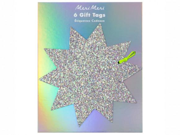 Meri Meri 6 Large Gift Tags GLITTER STAR
