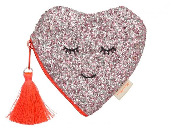 Meri Meri Coin Purse HEART glitter