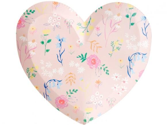 Meri Meri Large Party Plates Hearts WILDFLOWERS