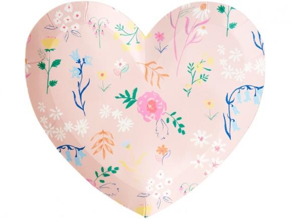 Meri Meri Small Party Plates Hearts WILDFLOWERS