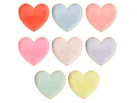 Meri Meri 8 Large Party Plates HEARTS pastel