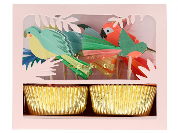 Meri Meri 24 Cupcake Set TROPICAL BIRDS