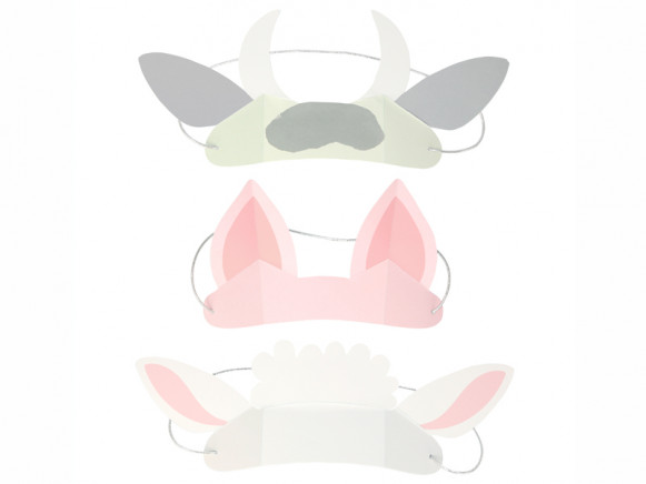 Meri Meri 8 Paper Animal Ears ON THE FARM