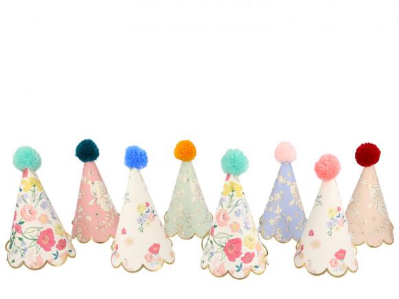 Meri Meri 8 Party Hats ENGLISH GARDEN