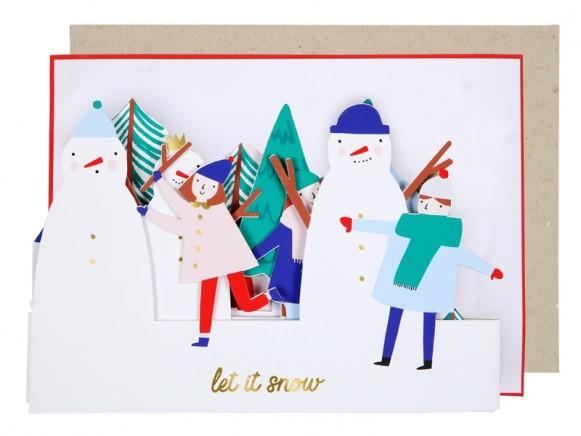 Meri Meri Christmas Card SNOWMAN SCENE