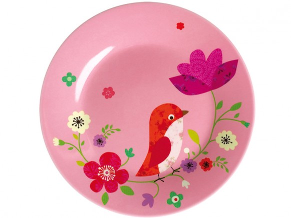 Pink melamine plate with bird print by Mini Labo