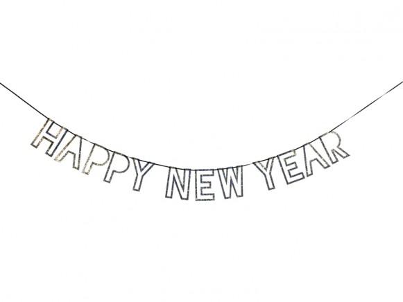 Meri Meri Garland HAPPY NEW YEAR silver