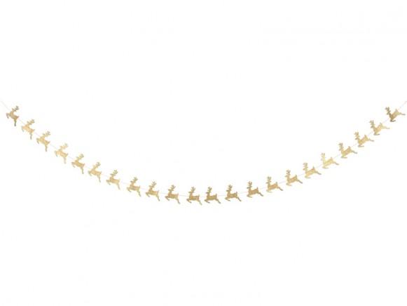 Meri Meri Mini Garland LEAPING REINDEERS gold