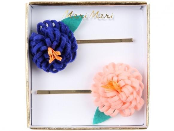 Meri Meri 2 Hair Slides FLOWER POSY