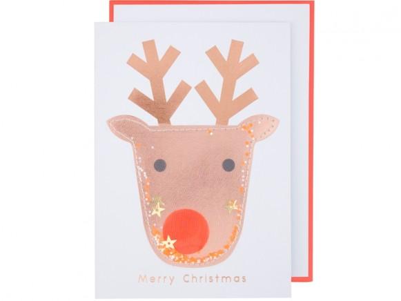 Meri Meri Christmas Card REINDEER glitter