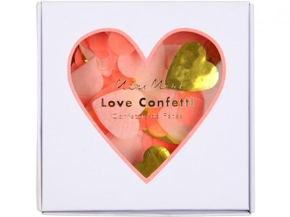 Meri Meri Party Confetti HEARTS neon-coral