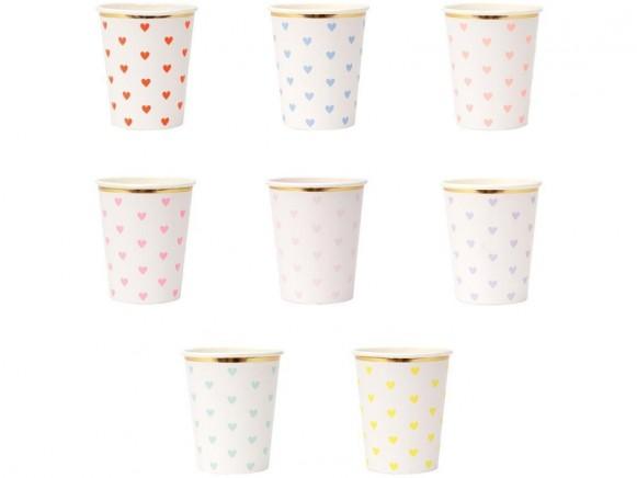 Meri Meri 8 Party Cups HEARTS pastel