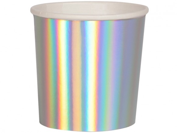 Meri Meri Tumbler Cups SILVER HOLOGRAPHIC