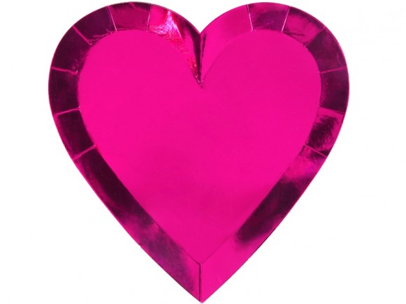 Meri Meri Large Party Plates Hearts pink