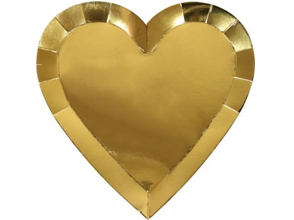Meri Meri Small Party Plates Hearts gold