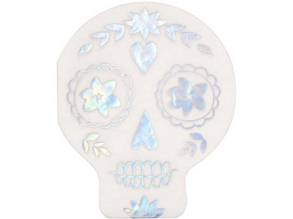 Meri Meri 16 Napkins SUGAR SKULL holographic