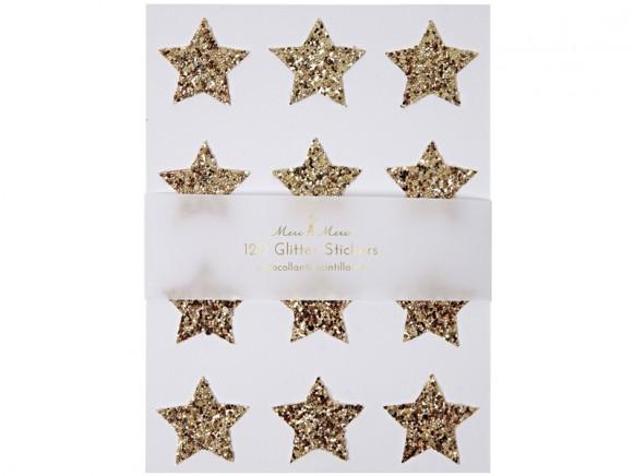 Meri Meri 120 Glitter Stickers STARS golden