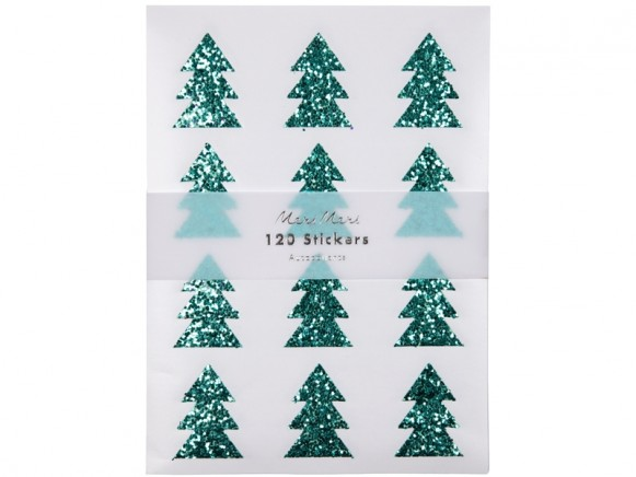Meri Meri 120 Glitter Stickers CHRISTMAS TREES