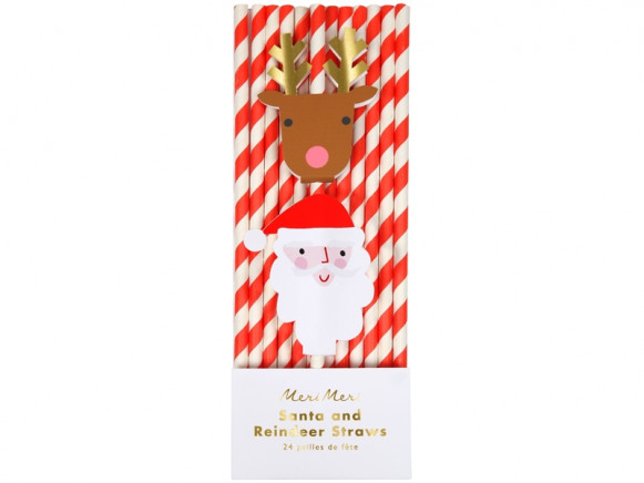 Meri Meri Party Straws SANTA & REINDEER