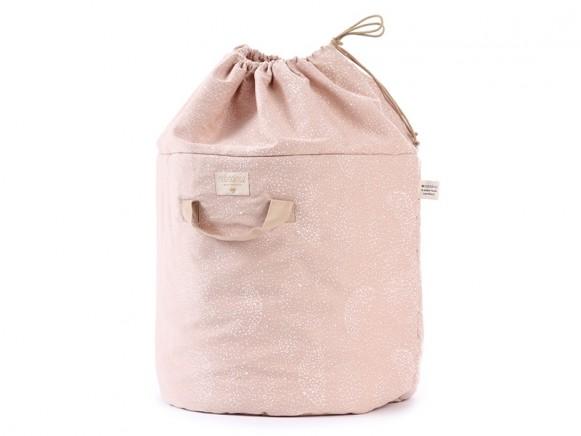 Nobodinoz Bamboo Toy Bag White Bubble MISTY PINK large