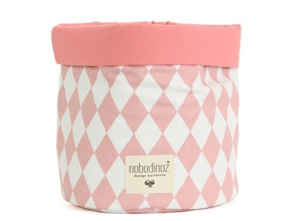 Nobodinoz Mambo Storage Basket PINK DIAMONDS small