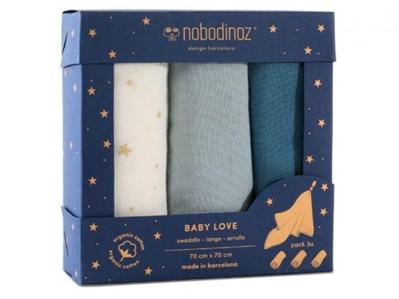 Nobodinoz Baby Love Swaddle Set NIGHT BLUE