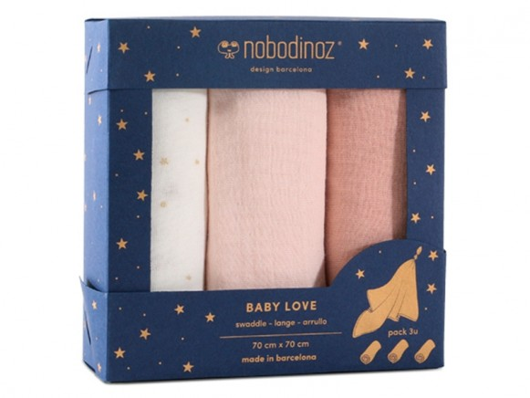 Nobodinoz Baby Love Swaddle Set BLOOM PINK