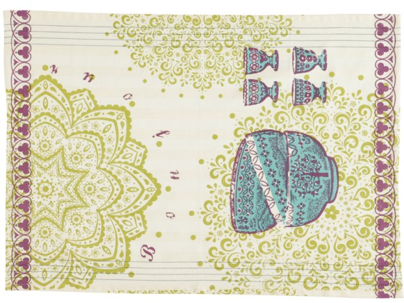 Overbeck and Friends kitchen towel Veronika purple-turquoise