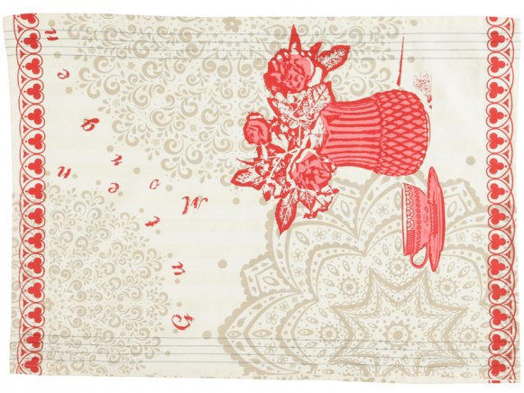 Overbeck and Friends kitchen towel Veronika red-grey