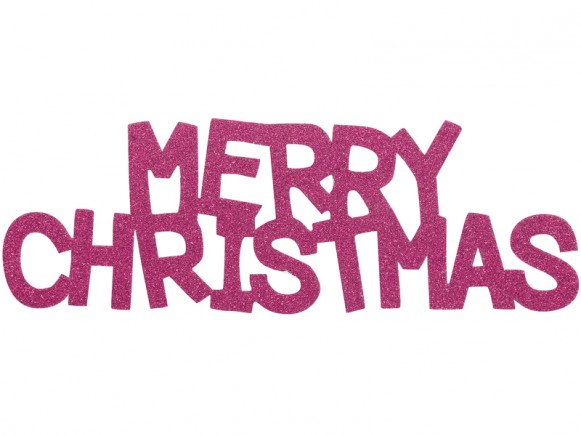 Overbeck & Friends glitter sign Merry Christmas pink