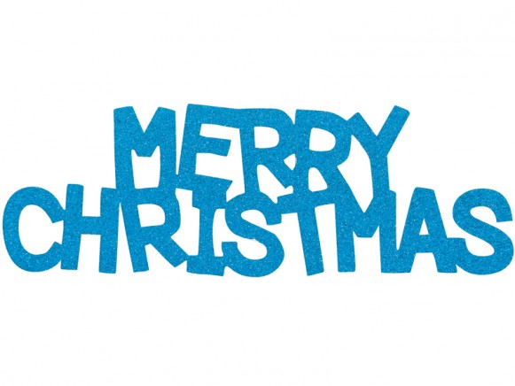 Overbeck & Friends glitter sign Merry Christmas turquoise