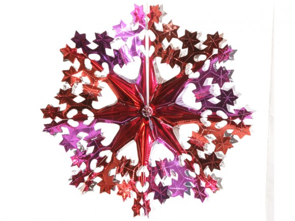 Big X-mas glitter star in fuchsia-red-silver by Overbeck & Friends