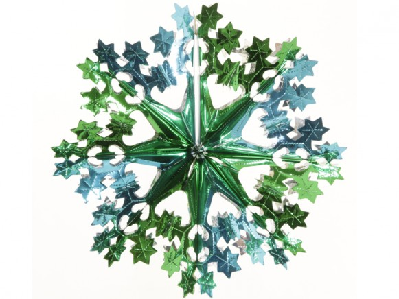 Big X-mas glitter star in turquoise-green-silver by Overbeck & Friends