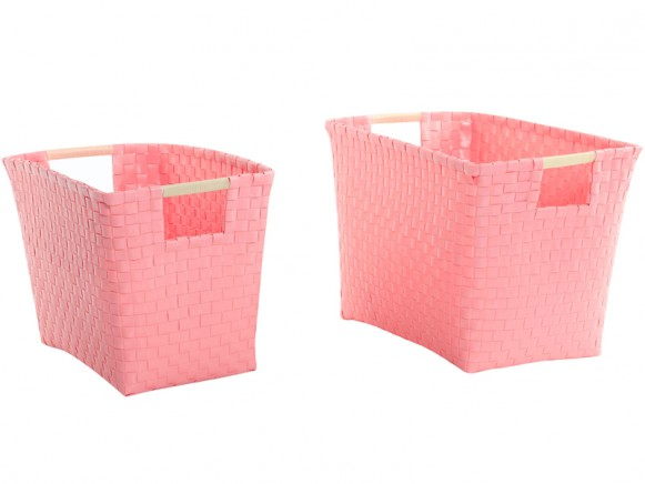 Overbeck and Friends baskets with handle pastel pink