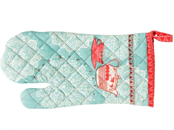 Overbeck kitchen glove Veronika red turquoise
