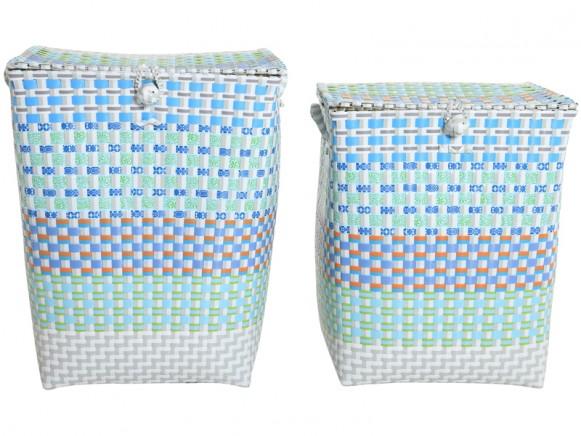 Overbeck laundry basket Grace aqua