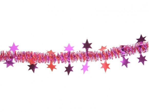 X-mas garland with stars in red-fuchsia
