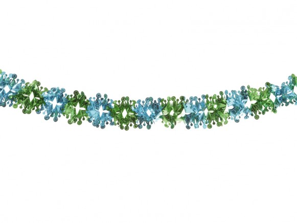 X-mas garland with crowns in turquoise-green