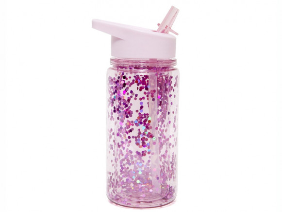 Petit Monkey Water Bottle GLITTER Pink