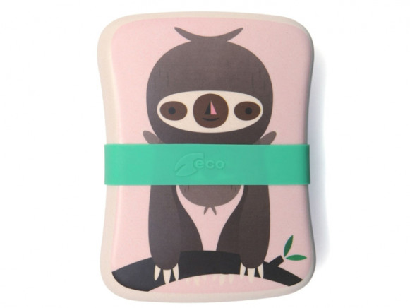 Petit Monkey Bamboo Lunch Box SLOTH pink
