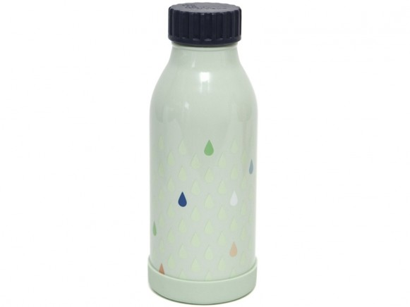 Petit Monkey Stainless Steel Bottle DROPS green