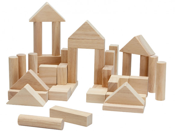 PlanToys 40 Wooden Blocks PLAIN
