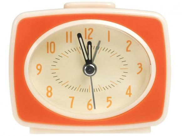Rexinter alarm clock Vintage TV-style orange
