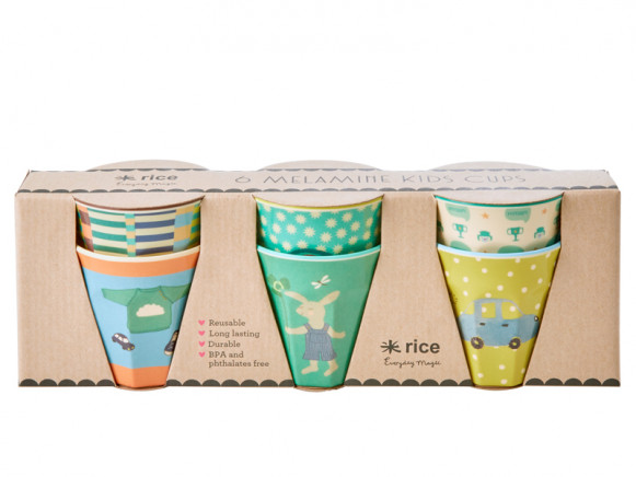 RICE 6 Small Melamine Cups BUNNY green