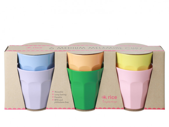 RICE 6 Melamine Cups LET'S SUMMER Colors