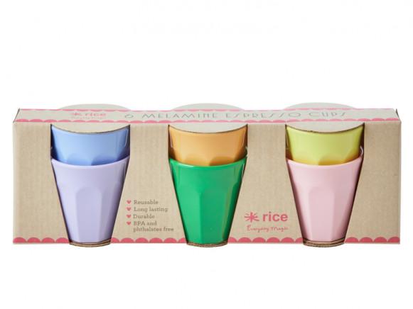 RICE 6 Melamine Espresso Cups LET'S SUMMER Colors