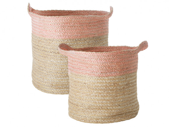 RICE Raffia Storage Basket PINK
