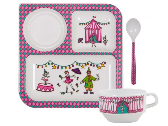 Baby melamine tableware for girls with circus print by RICE